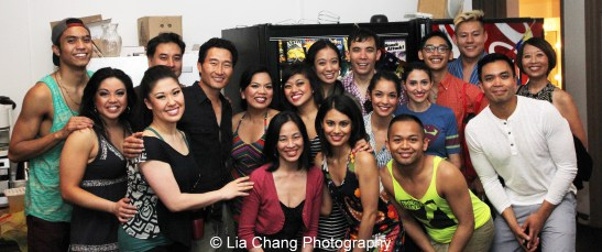 Sung Rno, Daniel Dae Kim and Jeanne Sakata in the green room with the cast of Here Lies Love at The Public Theater in New York on June 10, 2013.