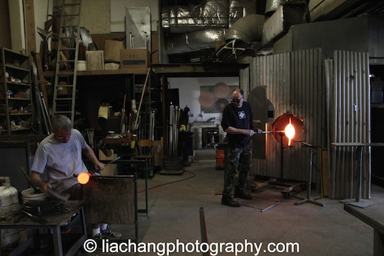 John Brekke and Kevin Scanlan at Scanlan Glass at Pier Glass in Red Hook. Photo by Lia Chang