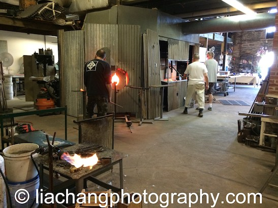 Kevin Scanlan, Arlan Huang and John Brekke at Scanlan Glass at Pier Glass in Red Hook. Photo by Lia Chang