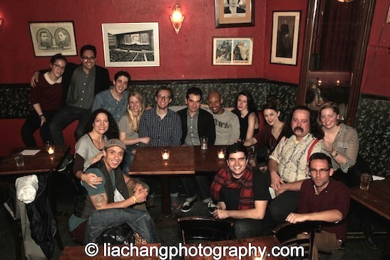The cast, crew and creative team of Rajiv Joseph's Describe the Night at the KGB Bar in New York for the closing night party on November 24, 2014. Photo by Lia Chang