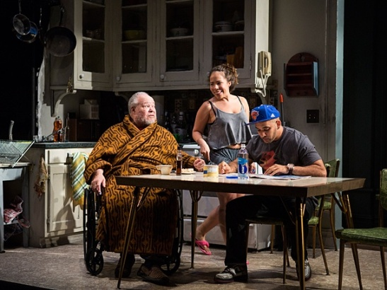 Stephen McKinley Henderson as Pops, Rosal Colon as Lulu & Victor Almanzar as Oswaldo in Between Riverside and Crazy. Photo by Kevin Thomas Garcia