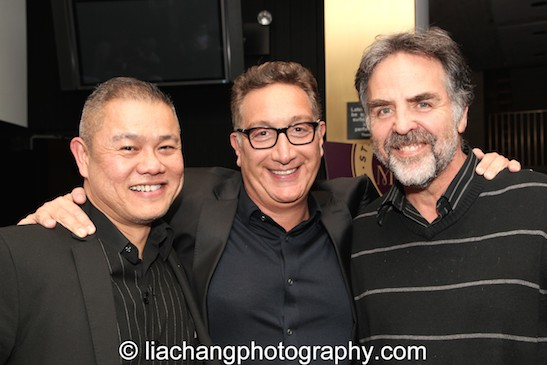 (L-R) Chay Yew, Moises Kaufman and Tim Sanford attend the 2014 Steinberg Playwright Awards hosted by the Harold and Mimi Steinberg Charitable Trust on November 17, 2014 in New York City. Photo by Lia Chang