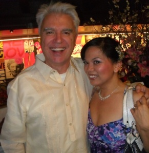 David Byrne and Melody Butiu at the Here Lies Love opening night party at The Public Theater in New York in April 2013.