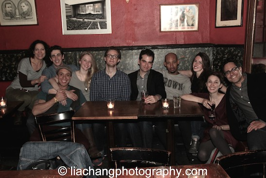 Giovanna Sardelli, KeiLyn Durrel Jones, Stephen Stocking, Carol Yvonne Brown, Tim Nicolai, Carlos Dengler, Jonathan Louis Dent, Emma Duncan, Erin Neufer and Rajiv Joseph at the KGB Bar in New York for the closing night party of his new play Describe the Night on November 24, 2014. Photo by Lia Chang