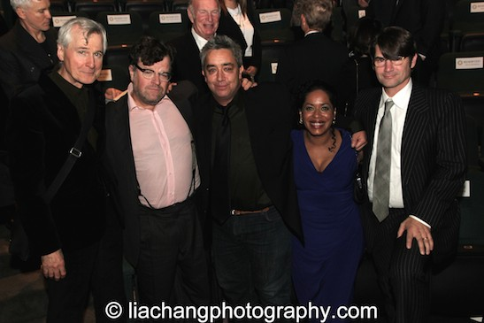 John Patrick Shanley, Kenneth Lonergan, Stephen Adly Guirgis, Liza Colón-Zayas and Oliver Dow attend the 2014 Steinberg Playwright Awards hosted by the Harold and Mimi Steinberg Charitable Trust on November 17, 2014 in New York City. Photo by Lia Chang