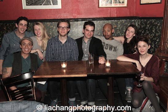 KeiLyn Durrel Jones, Stephen Stocking, Carol Yvonne Brown, Tim Nicolai, Carlos Dengler, Jonathan Louis Dent, Emma Duncan and Erin Neufer at the KGB Bar in New York for the closing night party of his new play Describe the Night on November 24, 2014. Photo by Lia Chang