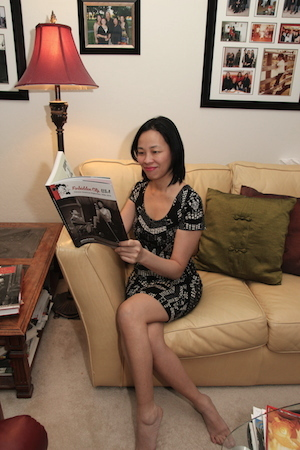 Lia Chang with her autographed copy of Arthur Dong's Forbidden City, USA: Chinese American Nightclubs, 1936-1970 on Thanksgiving Day in Las Vegas on November 27, 2014. Photo by Marissa Chang-Flores
