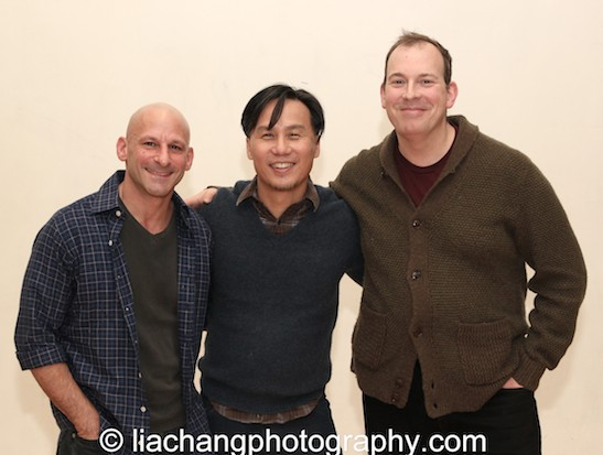 BD Wong is flanked by his pals award winning sound designer Mark Bennett and award winning composer and music director Wayne Barker. Photo by Lia Chang