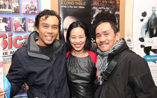 Ron Domingo, Lia Chang and Jojo Gonzalez after the final performance of Han Ong's Chairs and a Long Table at the Clurman on Theater Row in New York on November 22, 2014. Photo by Lia Chang