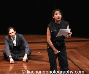 Actors Trevor Long (L) and Elizabeth Rodriguez perform on stage at the 2014 Steinberg Playwright Awards hosted by the Harold and Mimi Steinberg Charitable Trust on November 17, 2014 in New York City. Photo by Lia Chang