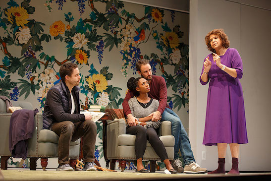 Philippe Bowgen, Rachael Holmes, Greg Keller and Trezana Beverley in Branden Jacobs-Jenkins' War at Yale Rep. Photo by Joan Marcus
