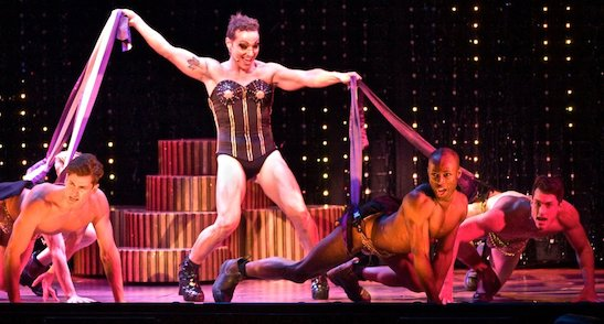 Bryan West (standing); l-r Alex Ringler, Taurean Everett and Travis Taber in the touring company of Priscilla, Queen of the Desert: The Musical (2013). Photo by Joan Marcus
