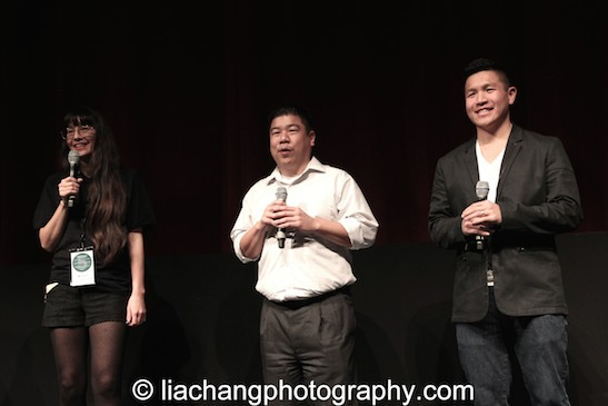 "9-Man filmmaker Ursula Liang, Paul Chin and Patrick ""2E"" Chin at the DOC NYC Festival at SVA Theater in New York on November 15, 2014. Photo by Lia Chang"