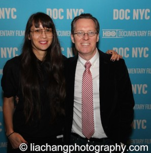 9-Man filmmaker Ursula Liang with DOC NYC artistic director Thom Powers at the DOC NYC Festival at SVA Theater in New York on November 15, 2014. Photo by Lia Chang