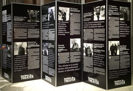 "Exhibit featuring ""harlem is ...Theater"" honorees at The Interchurch Center in New York on December 17, 2014. Photo by Lia Chang"