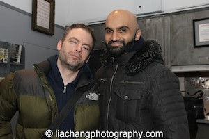 Justin Kirk and Usman Ally after a performance of Ayad Akhtar's The Invisible Hand at the New York Theatre Workshop on December 22, 2014. Photo by Lia Chang