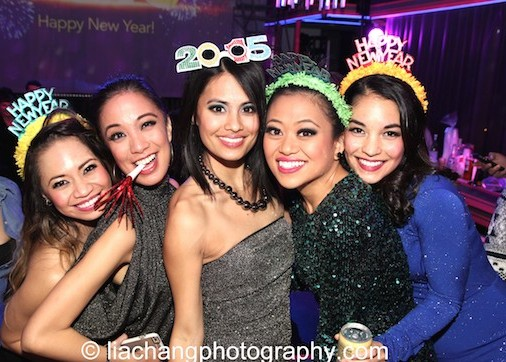 Carol Angeli, Jaygee Macapugay, Debralee Daco, Renee Albulario and Janelle Velasquez usher in 2015 on the HERE LIES LOVE set at The Public Theater's LuEsther Hall in New York on December 31, 2014. Photo by Lia Chang