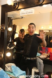 Backstage at HERE LIES LOVE with Conrad Ricamora at The Public Theater's LuEsther Hall in New York on December 31, 2014. Photo by Lia Chang