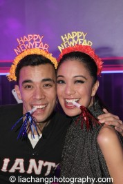 Conrad Ricamora and Jaygee Macapugay usher in the New Year on the set at The Public Theater's LuEsther Hall in New York on December 31, 2014. Photo by Lia Chang