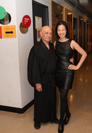 Ernest Abuba and Lia Chang backstage at the Mitzi Newhouse Theater at Lincoln Center in New York on December 16, 2014. Photo by GK
