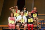 (Front row): Celia Keenan-Bolger, Dan Fogler, Sarah Saltzberg; (back row): Jose Llana, Deborah S. Craig, Jesse Tyler Ferguson, the young spellers in ``The 25th Annual Putnam County Spelling Bee,'' Circle in the Square. Photo by Joan Marcus