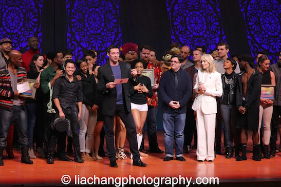 Hugh Jackman, Nathan Lane and Judith Light  announce Gypsy of the Year's record-breaking $5,229,611 grand total raised for Broadway Cares/Equity Fights AIDS, thanks to six weeks of fundraising by 64 Broadway, Off-Broadway and national touring companies, at The New Amsterdam Theatre in New York on December 9, 2014. Photo by Lia Chang