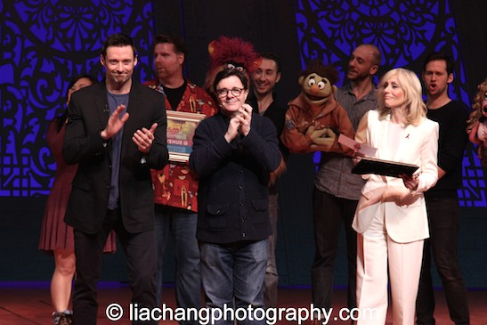 Hugh Jackman, Nathan Lane, and Judith Light announce the winners at the BC/EFA's Gypsy of the Year at The New Amsterdam Theatre in New York on December 9, 2014. Photo by Lia Chang