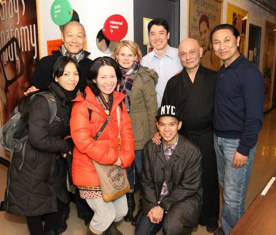 Takemi Kitamura, James Saito, Nami Yamamoto, Celia Keenan-Bolger, James Yaegashi, Jon Norman Schneider, Ernest Abuba and Tsering Dorjee backstage at the Mitzi Newhouse Theater at Lincoln Center in New York on December 16, 2014. Photo by Lia Chang