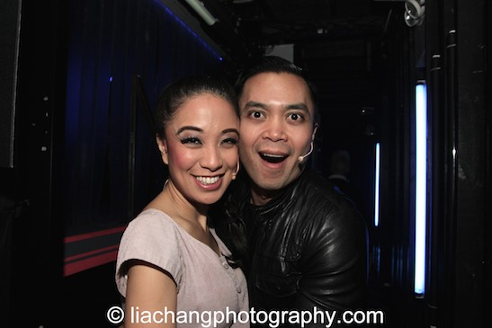 Jaygee Macapugay and Jose Llana seconds before curtain at HERE LIES LOVE at The Pubic Theater's LuEsther Hall in New York on December 31, 2014. Photo by Lia Chang