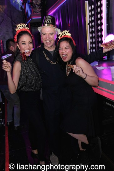 Jaygee Macapugay, David Byrne and Melody Butiu usher in 2015 on the HERE LIES LOVE set at The Public Theater's LuEsther Hall in New York on December 31, 2014. Photo by Lia Chang