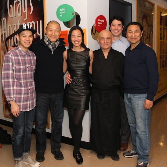 Jon Norman Schneider, James Saito, Lia Chang, Ernest Abuba, James Yaegashi and Tsering Dorjee backstage at the Mitzi Newhouse Theater at Lincoln Center in New York on December 16, 2014. Photo by GK