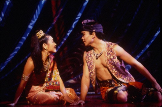 Joohee Choi (Tuptim) and Jose Llana (Lun Tha) in the 1996 Broadway revival of The King and I. Photo by Joan Marcus