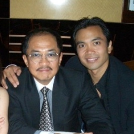 Jose Llana with his father, Florante Llana, at the Spelling Bee Opening Night Party for Broadway in 2005. (Photo courtesy of Jose Llana)