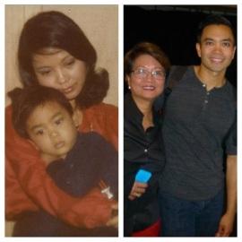 Jose Llana with his mom, Regina Newport in 1980 and in 2014. (Photo courtesy of Jose Llana)