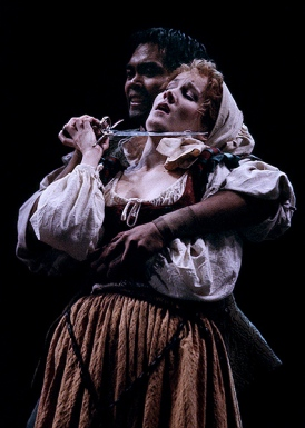 Jose Llana as Guillaume and Erin Dilly as Bertrande in Martin Guerre. Photo by Michal Daniel