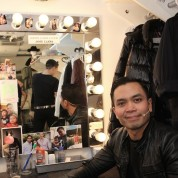 Backstage at HERE LIES LOVE with Jose Llana at The Public Theater's LuEsther Hall in New York on December 31, 2014. Photo by Lia Chang