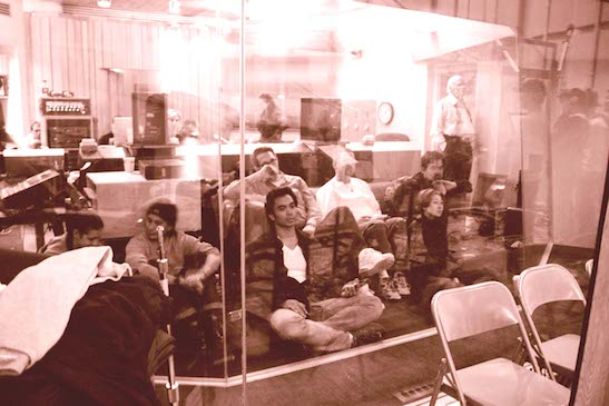 """Jose Llana in the Clinton Recording studio for the Flower Drum Song cast album in 2002. Photo by Lia Chang"""""""