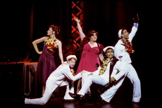 Kate Suber, Jesse Tyler Ferguson, Lea Delaria, Jose Llana, Robert Montalvo in On The Town (1997). Photo by Michal Daniel