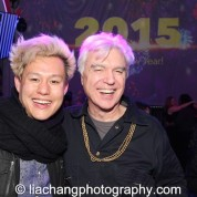 Kelvin Moon Loh and David Byrne usher in the New Year on the set at The Public Theater's LuEsther Hall in New York on December 31, 2014. Photo by Lia Chang