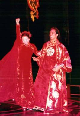 Lea Salonga and Jose Llana in the opening night curtain call of David Henry Hwang's revisal of Flower Drum Song at the Virginia Theater in 2002. Photo by Lia Chang