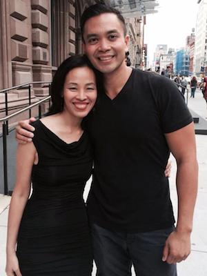 Lia Chang and Jose Llana at The Public Theater after a performance of Here Lies Love on August 22, 2014.