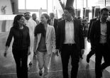 Matt and Grace Huang walking with US Ambassador Dana Smith at Hamad Airport on December 3, 2014. (photo credit: Daniel Chin) courtesy of Free Matt and Grace Facebook Page