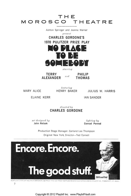 Original Playbill for NO PLACE TO BE SOMEBODY, September 1, 1971. Photo courtesy of www.playbillvault.com