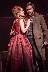 """Betsy Morgan and Jose Llana as Nancy & Bill Sykes in """"Oliver"""" at Paper Mill Playhouse in 2013. Photo by Billy Bustamante"""