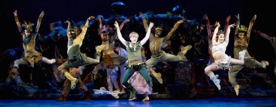 Nancy Anderson (Peter Pan), Jessica Lee Goldyn and the ensemble of Paper Mill Playhouse's production of Peter Pan (2010). Photo by Kevin Sprague
