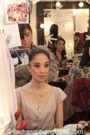 Backstage at HERE LIES LOVE with Jaygee Macapugay and her dresser Rachel Brown at The Public Theater's LuEsther Hall in New York on December 31, 2014. Photo by Lia Chang