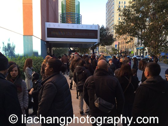 The line for Ursula Liang's 9-Man at the DOC NYC Festival at SVA Theater in New York on November 15, 2014. Photo by Lia Chang