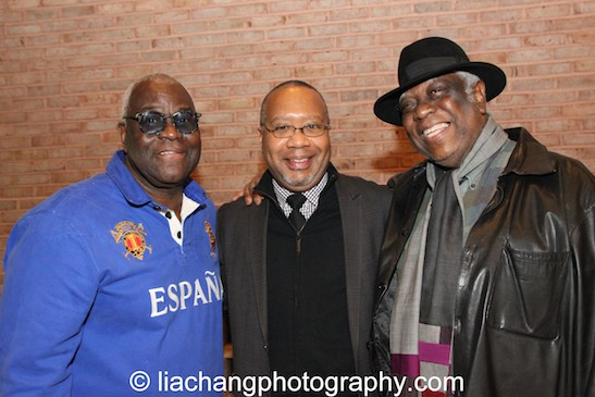 At the harlem is ...Theater exhibit, honorees Voza Rivers, Executive Producer of New Heritage Theatre Group, and Woodie King Jr., founder and Producing Director of the New Federal Theatre and the National Black Touring Circuit, talk about Black Theater Past, Present and Future, on December 17, 2014 with Talvin Wilks at The Interchurch Center in New York. Photo by Lia Chang