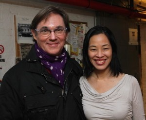 Richard Thomas and Lia Chang backstage at the Longacre Theatre in New York on January 7, 2015. Photo by GK