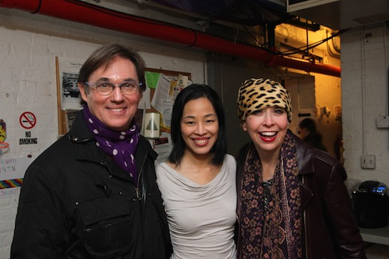 Richard Thomas, Lia Chang and Julie Halston backstage at the Longacre Theatre in New York on January 7, 2015. Photo by GK
